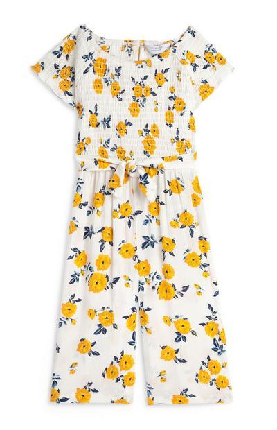 Weißer Culotte-Jumpsuit mit Blumenmuster (kleine Mädchen)