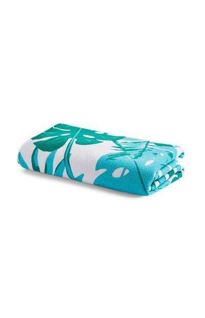 Brisača za plažo iz mikrovlaken s potiskom belih in modrih listov
