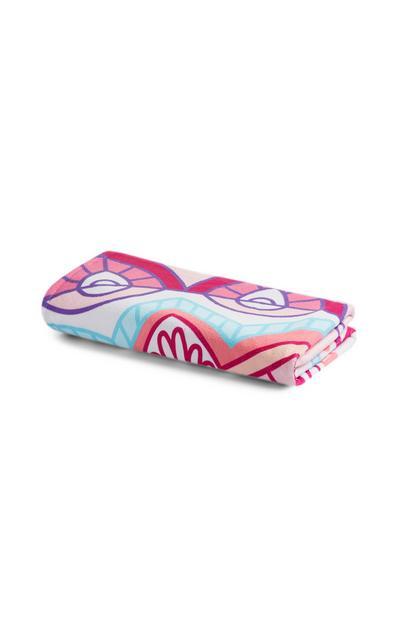 Brisača za plažo iz mikrovlaken z rožnatim vzorcem