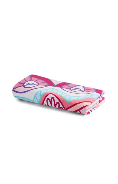 Pink Patterned Microfibre Beach Towel