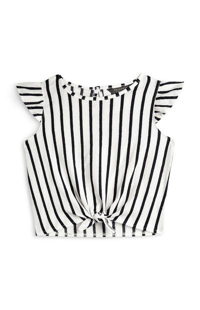 Younger Girl Black And White Stripe Tie Front Top