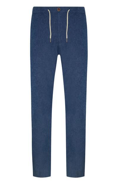 Donkerblauwe linnen broek met trekkoord