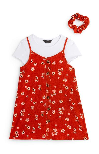 Younger Girl Red 2 In 1 Dress With Scrunchie