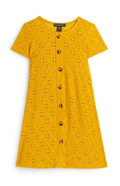 Younger Girl Yellow Embroidered Skater Dress
