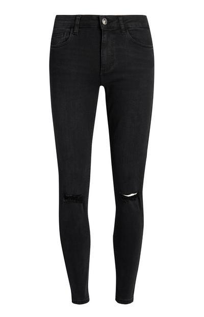 Jeans neri skinny effetto consumato
