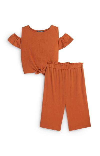 Younger Girl Terracotta Front Tie Top And Trouser Set