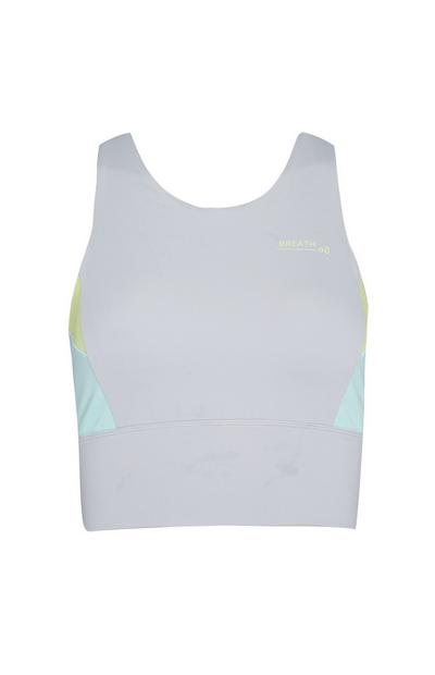 Light Grey Side Panel Workout Crop Top