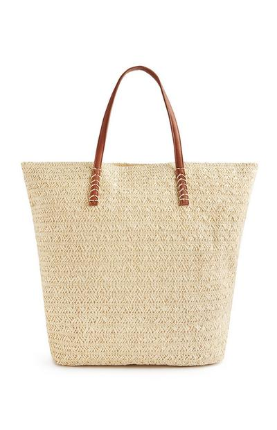 Natural Zip Top Straw Shopper Bag