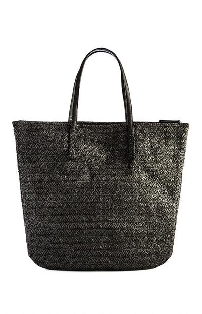 Black Straw Zip Top Shopper
