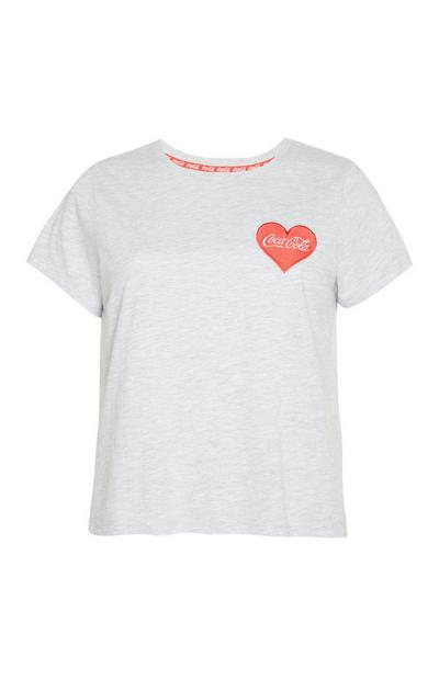 Grey Coca Cola Love Heart T-Shirt