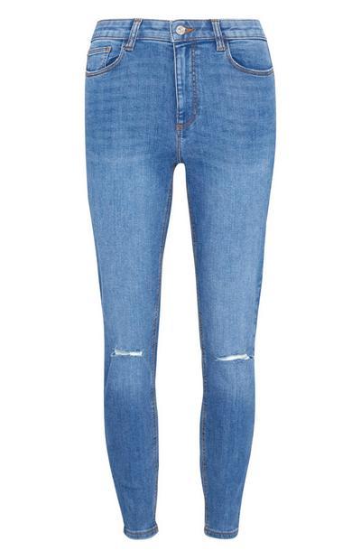 Jean skinny bleu moyen déchiré