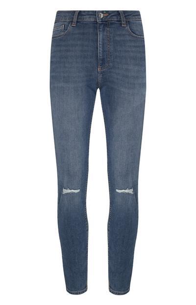 Calças ganga skinny rasgões azul-escuro
