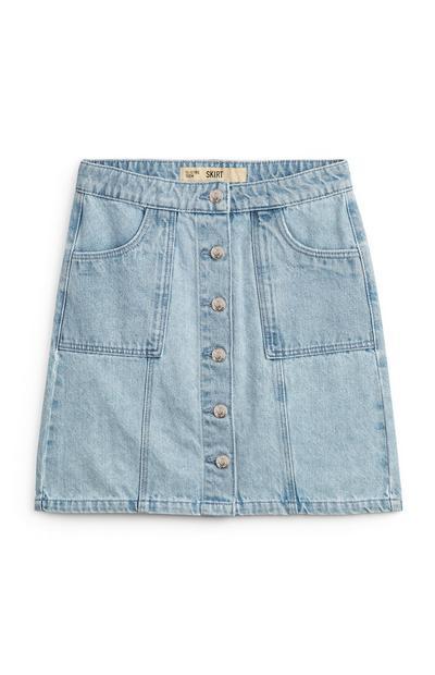 Older Girl Buttoned Denim Skirt