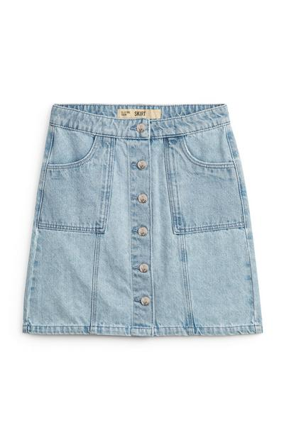 Older Girl Denim Button Up Skirt