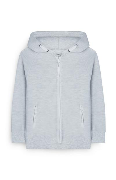 Younger Boy Grey Zip Up Hoodie