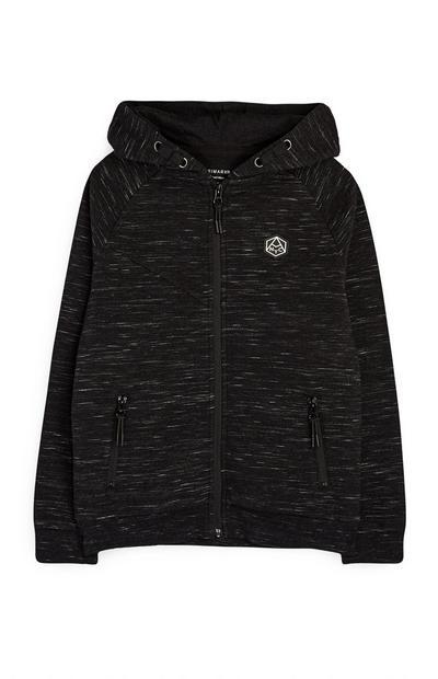 Sudadera negra con capucha, cremallera y acabado texturizado para niño mayor