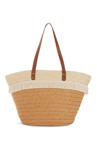 Straw Tassel Bucket Bag