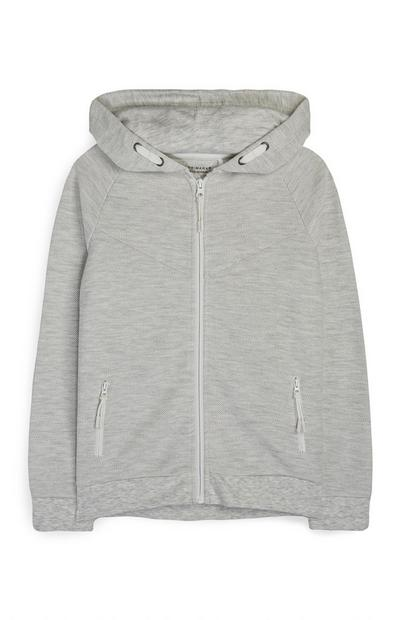 Older Boy Gray Zip-Up Hoodie