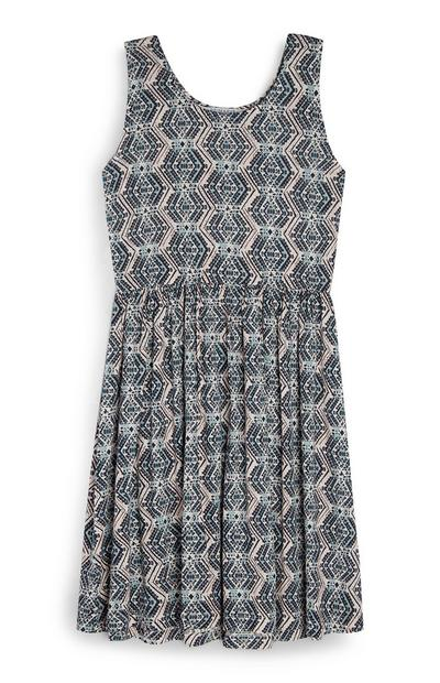 Older Girl Aztec Print Jersey Dress
