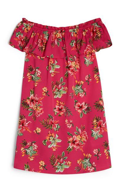 Older Girl Hot Pink Off Shoulder Floral Dress