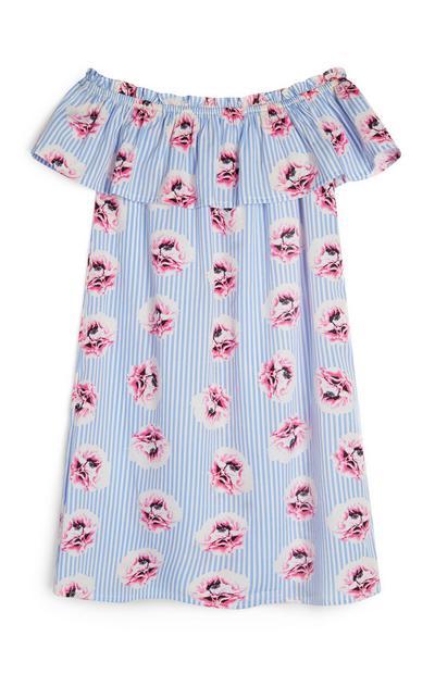 Older Light Blue Stripe Off Shoulder Dress