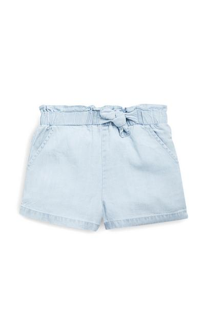 Younger Girls Light Blue Tencel Shorts
