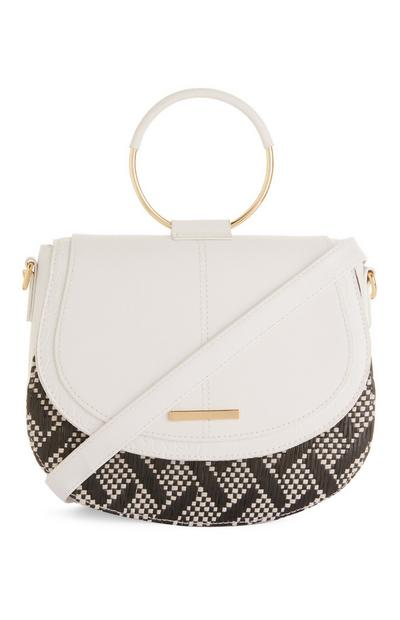 White Straw Criss Cross Handbag With Round Handle