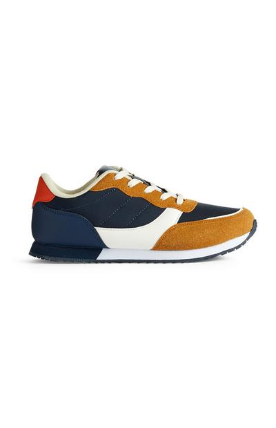 Navy And Orange Casual Running Sneakers