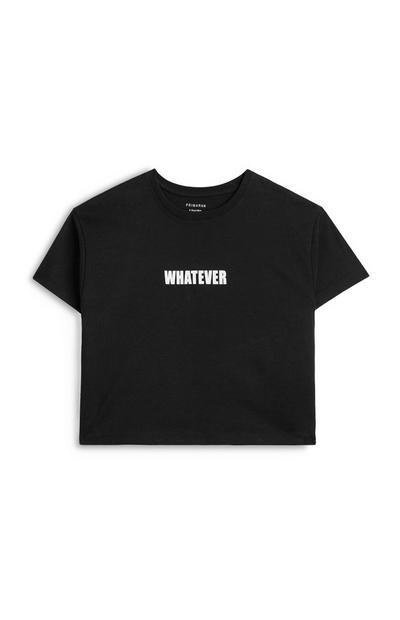 Camiseta corta negra con mensaje «Whatever» para niña mayor