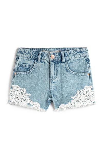 Older Girl Denim Crochet Shorts