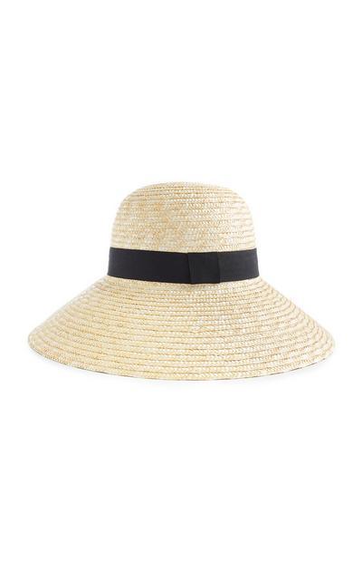 Straw Cloche Floppy Hat With Black Ribbon