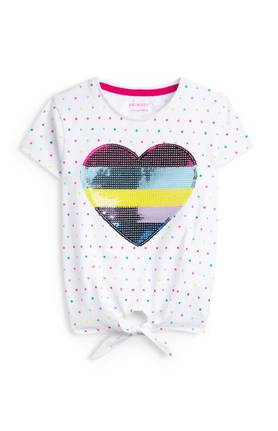 Wit T-shirt met hartpailletten en geknoopte zoom voor meisjes