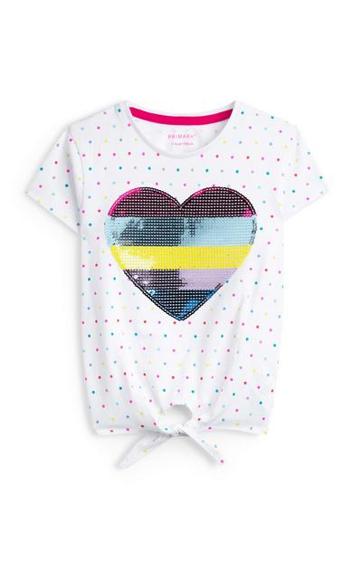 Younger Girl White Heart Sequin Front Tie T-Shirt