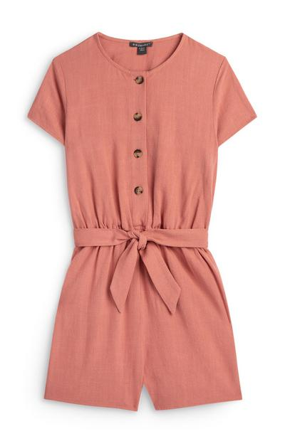 Older Girl Pink Button Up Utility Playsuit