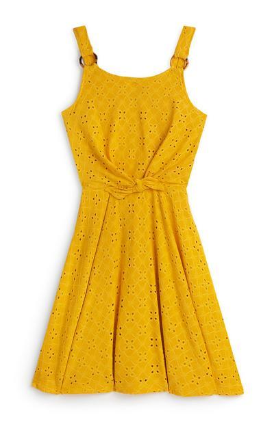 Older Girl Yellow Embroidered Skater Dress