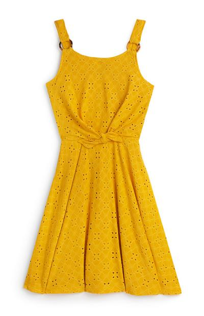 Older Girl Yellow Embroidered Skater Dress