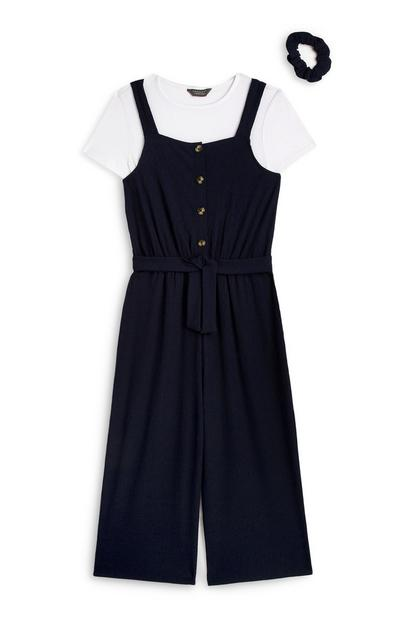 Older Girl Black Jumpsuit Outfit 3Pc