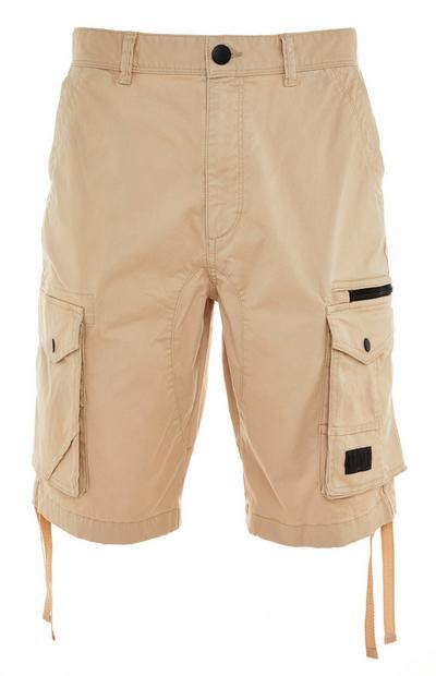 Beige Utility Cargo Shorts