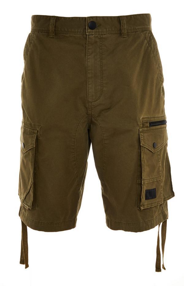 Kaki kratke hlače z žepi na stegnih