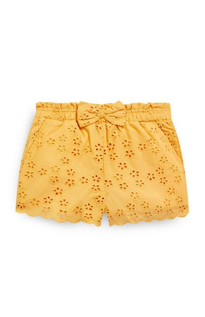 Younger Girl Yellow Embroidered Shorts