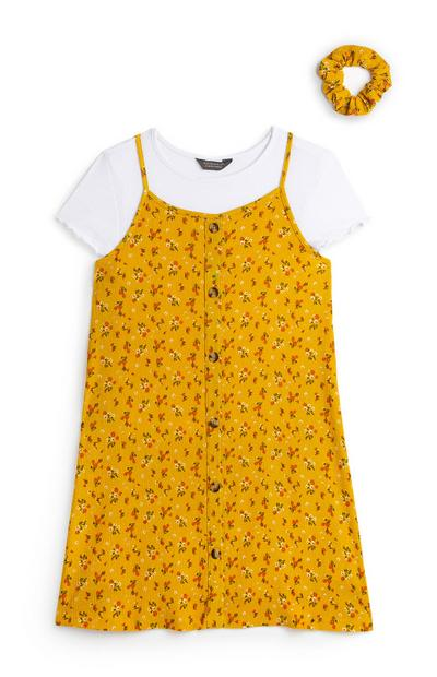 Older Girl Yellow Floral 2-In-1 Dress With Scrunchie