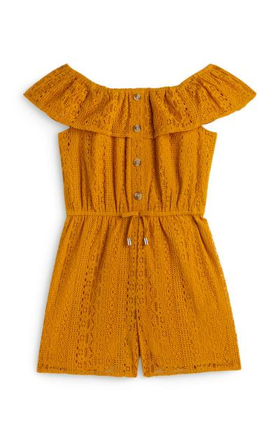Older Girl Mustard Lace Playsuit