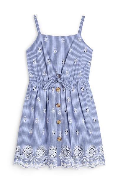 Blauw gestreept jurkje voor meiden