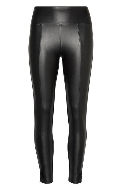 Legging en polyuréthane cuir noir