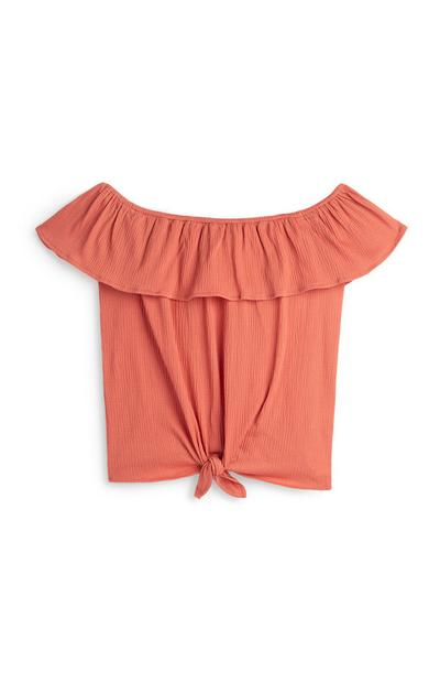 Older Girl Peach Bardot Tie Front Top