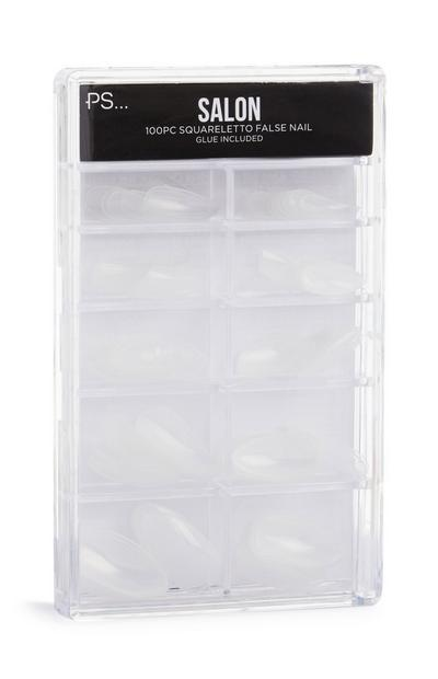 100 Clear Squareletto Faux Nails