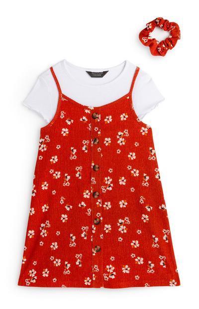 Rotes 2-in-1-Kleid mit Blumenmuster und Haargummi (Teeny Girls)
