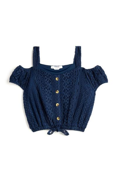Temno modra čipkasta kratka majica za dekleta