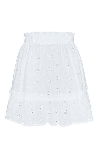 White Embroidered Skirt