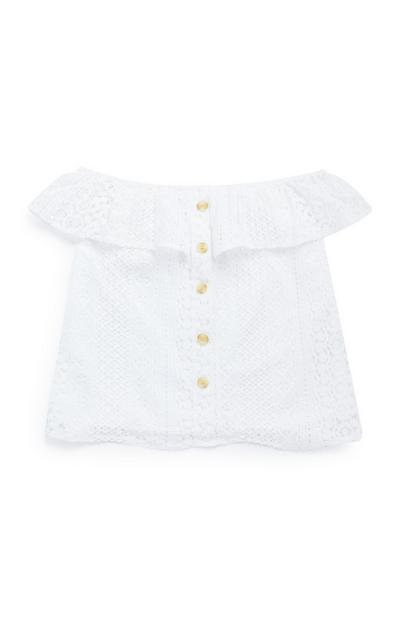 Older Girl White Lace Button Up Blouse